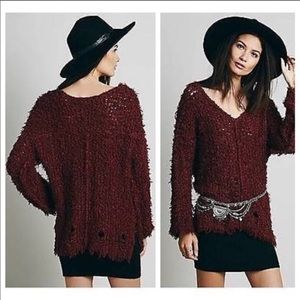 FREE PEOPLE Vneck Loose Knit Sweater in Cinnamon